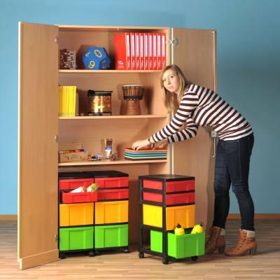 Modulus® Garagen-Klassenschrank mit 3 Rollcontainer (je 2 große und 2 kleine Schubladen)