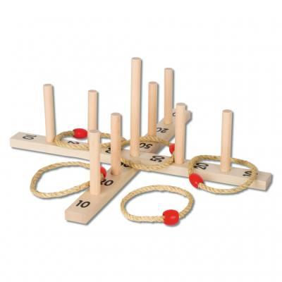 Ringwurfspiel mit 5 Sisalringen