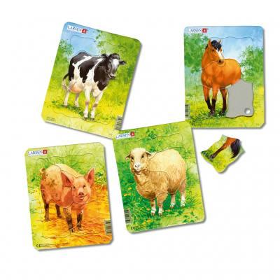 Bauernhoftiere - 4 Puzzle im Set