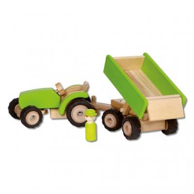 Holzauto Traktor mit Anhänger