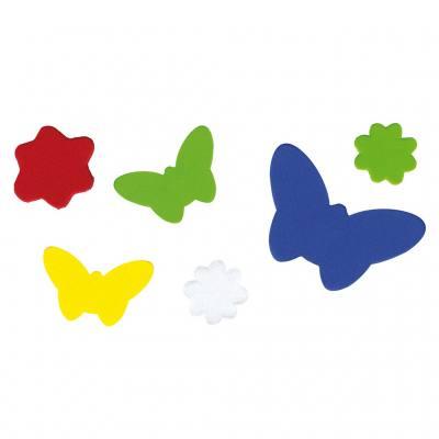Moosgummi-Stanzteile - Blumen und Schmetterlinge