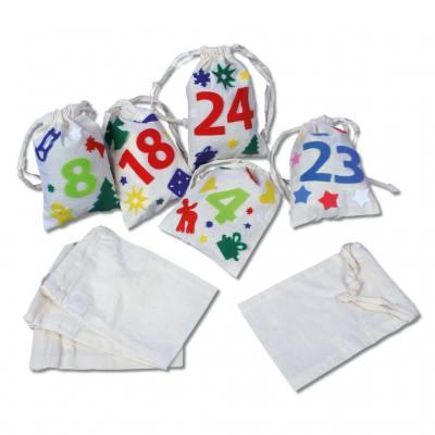 24 Baumwollsäckchen - weiß