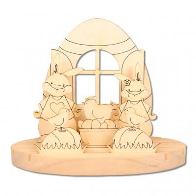 """Teelichthalter """"Ostern mit der Familie"""" - klein"""