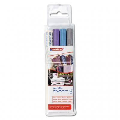 Glanzlackmaler - silber, hellblau-metallic, violett-metallic