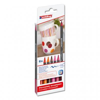 Porzellan-Pinselstift-Set - Warme Farben