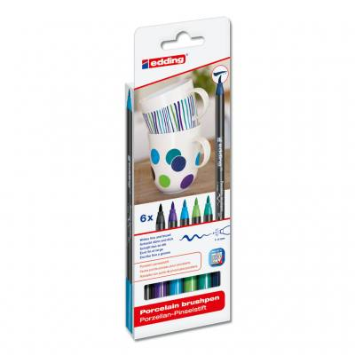 Porzellan-Pinselstift-Set - Kalte Farben