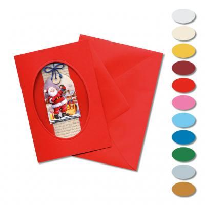 Passepartoutkarten, ovale Stanzung - in 11 verschiedenen Farben