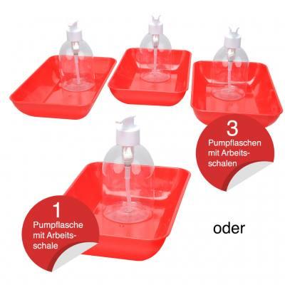 Leere Pumpflaschen mit Auffangschale