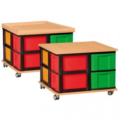 Modulus® Ordnungsstifter & Spielinsel mit 8 großen Schubladen